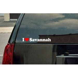 I Love Savannah Vinyl Decal   White with a red heart Automotive