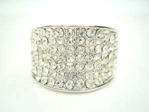 PAVE 18K WHITE GOLD PLATED CRYSTAL 14MM WIDE RING 9