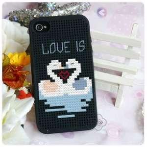 KEC DIY iPhone 4 Case Cross Stitch Case, Swan Cell Phones