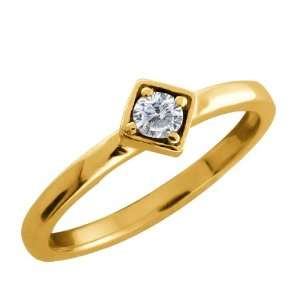 Round White Diamond Gold Plated Sterling Silver Ring