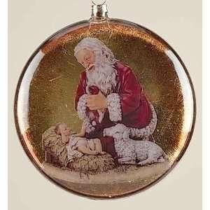 Pack of 6 The Kneeling Santa Decoupage Glass Christmas
