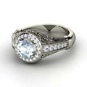Primrose Ring, Round Aquamarine 14K White Gold Ring with