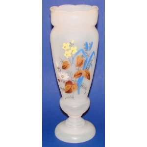 Bristol Glass Tall White Vase Hand Painted Enamel Flowers