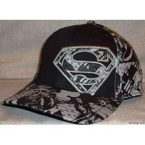 DC Comics SUPERMAN Adult B/W Embroidered Logo Cap HAT