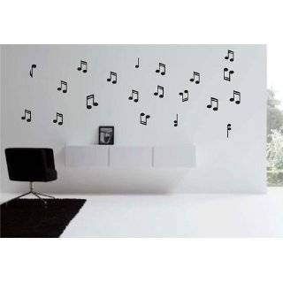 MUSICAL NOTESWALL STICKERS DECALS ART DECOR, BLACK