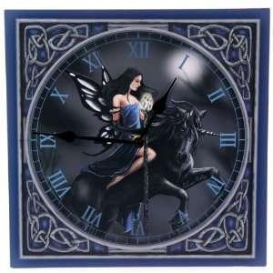 Blue Fairy Riding Unicorn Lisa Parker Picture Clock