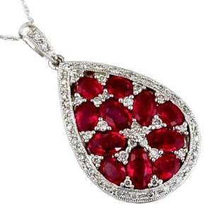 14K White Gold Diamond and Ruby Necklace Grande Jewelry