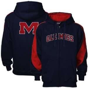 Mississippi Rebels Navy Blue Full Zip Varsity Hoody Sweatshirt