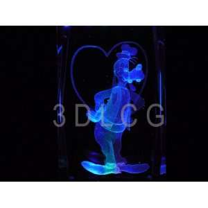 Disney Goofy with HEART 3D Laser Etched Crystal