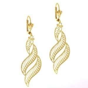 2.25 Stunning Leave Shape Dangle Gold Plated Earrings