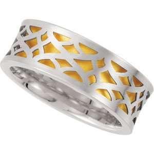IceCarats Designer Jewelry Gift 14K White/Yellow Gold Wedding Band