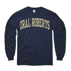 Oral Roberts Golden Eagles Navy Arch Long Sleeve T Shirt