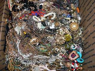 25 Pounds Vintage Costume Junk Jewelry Box Lot, Broken Jewels Craft