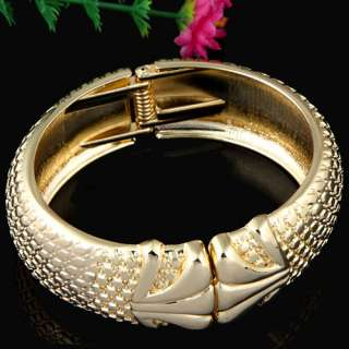 Special Gold Plated Open ended Rough Bangle Bracelet W/ Spring Fashion