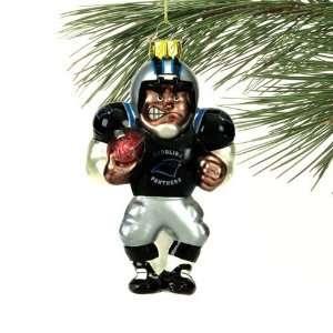 NFL Carolina Panthers Angry Football Player Glass Ornament
