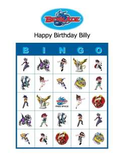 Beyblade Birthday Party Game Bingo Cards
