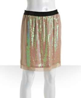 BCBGMAXAZRIA pumice silk chiffon sequin skirt