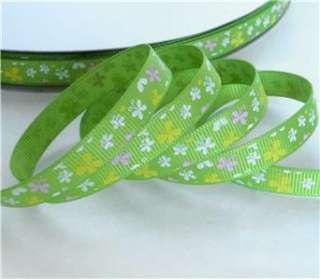 pink/white/green butterfly Grosgrain RIBBON 5 yard