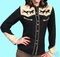 GALS XS SCULLY BLING WILD HORSES WESTERN RETRO SHIRT