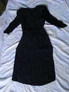 1940's WW2 VINTAGE WOMAN BLACK SILK NIGHT GOWN DRESS