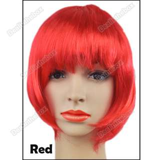 Colors Fashion Lady Party Fancy Dress Short Straight BOB Fake Hair