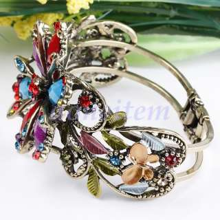 Red Blue Purple Flower Butterfly Crystal Rhinestone Cuff Bronze Bangle