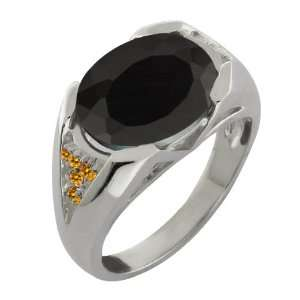 4.11 Ct Oval Black Onyx and Yellow Citrine 18k White Gold