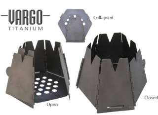 Vargo Titanium Hexagon Wood Cook Stove Backpacking Camping Pit