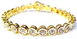 Gold Plated Sterling Silver Bracelet w/ CZ Accents 7 x 6.6mm