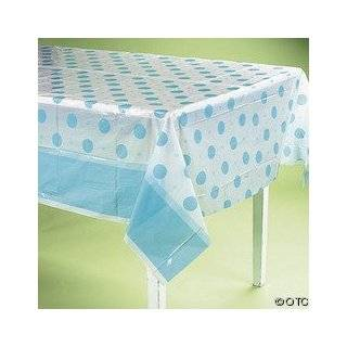 Plastic Blue Polka Dot Baby Shower Tablecloth