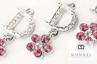 H293 Fashion Pink Crystal Flower Charm Wholesale (3pcs)