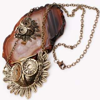 Vintage Retro Style Owl Pendant Necklace Ring Set HOT~~