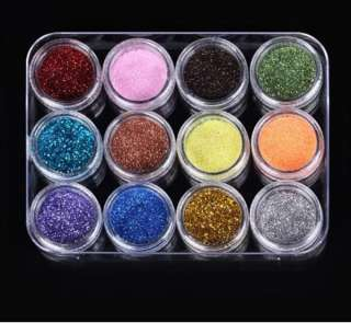 12 Colors Nail Art Acrylic Nail Glitter Loose Powder Gift