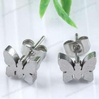 2pc Silver Tone Butterfly Stainless Steel Ear Men Women Earring Stud
