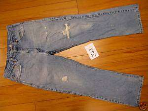Used levi blue 517 boot cut 34x30 destroyed jeans J62
