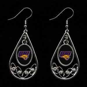 NCAA Northern Iowa Panthers Ladies Tear Drop Crystal Dangle Earrings