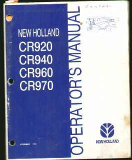 New Holland CR920 940 960 970 Combine Operators Manual