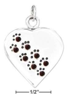 Sterling Silver Heart Paw Print CZ Birthstone Pendants