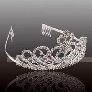 Elegant Wedding Bridal Jewelry double Hearts Rhinestone Crown Headband