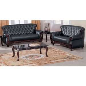 Traditional Classic Button Tufted Showood Accented Black Leather Sofa