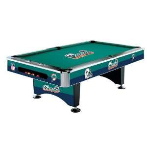 Miami Dolphins Team Logo 8 Foot Pool Table WITH Logo Felt