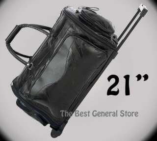 21 Black Leather Duffle Tote Travel Carry On Folding Trolley Bag with