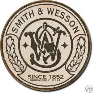 Smith & Wesson Gun Revolver Logo Vintage Metal Tin Sign