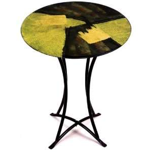 20 Inch by 30 Inch Fused Glass Round Accent Table, Black/Gold Leaf