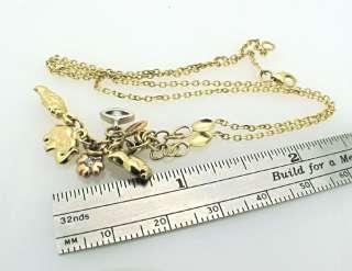 14K tri tone Gold Lucky Symbols Charm Pendant Necklace