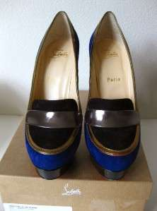 AUTH CHRISTIAN LOUBOUTIN SUEDE LOAFER HEELS PUMPS 38
