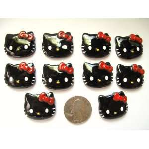 10 Resin Cabochon Flat Back Black Hello Kitty Red Bow for