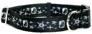Hello Black and White Ribbon Dog Collar
