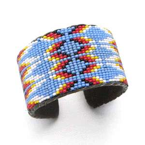 NATIVE DESIGNS BEADWORK SEED BEADED CUFF BRACELET LEATHER WHOLESALE 31