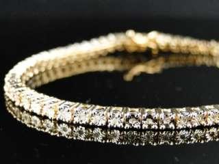 LADIES 1 ROW DIAMOND YELLOW GOLD FINISH TENNIS BRACELET 7 INCH